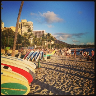 Surfboards at Waikiki Beach- Honolulu, Hawaii