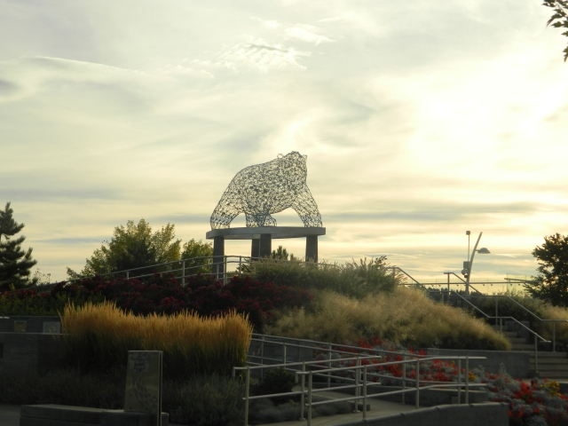 A bear sculpture on the lake waterfront