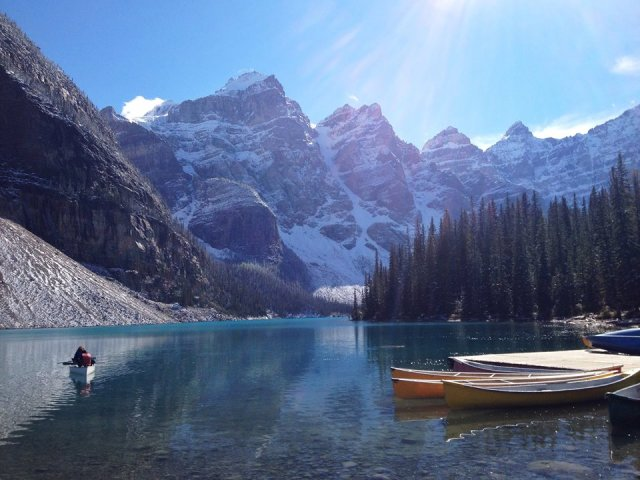 Morraine Lake - I wish we got to use those canoes! Next time...